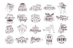 Set of holiday Happy New 2018 Year handwritten lettering decorated with hand drawn traditional festive attributes - fir. Tree, champagne, gift, light garland Stock Photos