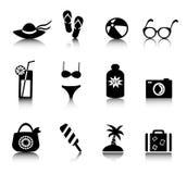 Set holiday icons. Set vacation and beach icons on white background Stock Image