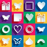 Set of 16 holiday icons on a colored background. Vector illustration, eps 10 Royalty Free Stock Images