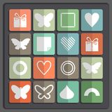 Set of 16 holiday icons on a colored background Stock Image