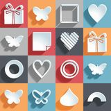 Set of 16 holiday icons on a colored background. Vector illustration, eps 10 Stock Photos