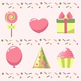 Pink scrap set. Set of holiday items on a pink background stock illustration