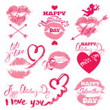 Set of holiday labels - pink lips print, hearts, angel Stock Photo