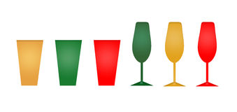 Set of Holiday or New Years Glasses Royalty Free Stock Photos