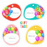 A set of holiday tags. Happy birthday! Vector clipart. A set of holiday tags. Brightly colored balloons. There is a place for text. Vector illustration isolated Stock Images