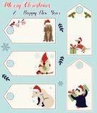 Set of holiday tags with different cute animals.  Royalty Free Stock Photo