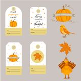 Set of holiday Thanksgiving backgrounds, badges,tags with different elements stock illustration