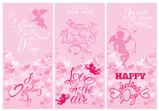 Set of 3 Holiday vertical banners with cute angels on hearts pin vector illustration