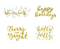 Set holidays Gold glittering elegant modern brush lettering design on a wight background vector illustration.  Stock Photos