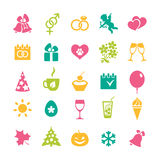 Set of 25 holidays icons. Set of 25 colourful icons and design elements for seasonal holidays, birthday and wedding Stock Photo