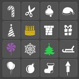 Set of 16 holidays web and mobile icons. Vector. Set of 16 vector Christmas and holidays web and mobile icons in flat design Stock Images