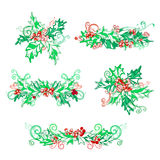 Set of holly berries page decorations and dividers. Royalty Free Stock Images