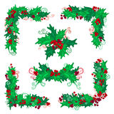 Set of holly berries page decorations and dividers. Stock Photos