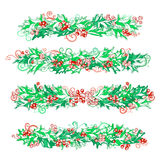 Set of holly berries page decorations and dividers. Royalty Free Stock Photo