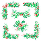 Set of holly berries page decorations and dividers. Vector Christmas design elements isolated on white background. Can be used for your Christmas invitations or Royalty Free Stock Images