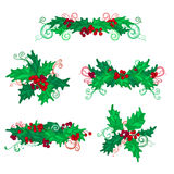 Set of holly berries page decorations and dividers. Stock Photo
