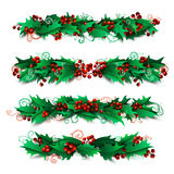 Set of holly berries page decorations and dividers. Stock Image