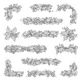 Set of holly berries page decorations and dividers. Royalty Free Stock Image