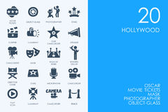 Set of Hollywood icons. Hollywood vector set of modern simple icons Royalty Free Stock Images