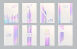 Set of holographic abstract backgrounds. Bright layouts of brochures in a geometric style. Brochure template design with holograms. Vector illustration Royalty Free Stock Photos