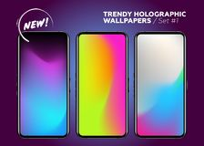 Set of Holographic Gradients. Vector Modern Bright Background. Abstract Neon Texture. Minimal Posters in Hipster Style. Dynamic Vibrant Design. Colorful stock illustration