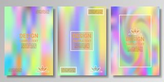 Set of holographic rainbow backgrounds with a liquid pattern. Corresponds to the size of a poster, cover, postcard and other printed matter for business vector illustration