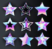 Set of holographic stars  Metal stars. Set of holographic, bright, isolated, iridescent stars on black background. Holographic stars Royalty Free Stock Photography