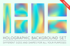 Set of Holographic Trendy Backgrounds. Can be used for Cover, Bo Royalty Free Stock Images