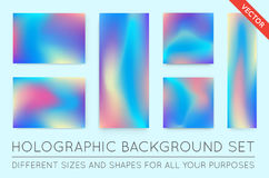 Set of Holographic Trendy Backgrounds. Can be used for Cover, Bo Royalty Free Stock Image