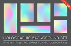 Set of Holographic Trendy Backgrounds. Can be used for Cover, Bo Stock Photos