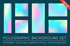 Set of Holographic Trendy Backgrounds. Can be used for Cover, Bo Stock Image