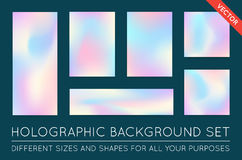 Set of Holographic Trendy Backgrounds. Can be used for Cover, Bo Stock Photography