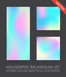 Set of Holographic Trendy Backgrounds. Can be used for Cover, Bo Royalty Free Stock Photo