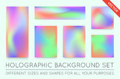 Set of Holographic Trendy Backgrounds. Can be used for Cover, Bo. Ok, Print, Fashion. EPS 10 Stock Photography
