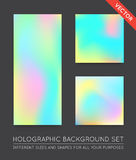 Set of Holographic Trendy Backgrounds. Can be used for Cover, Bo. Ok, Print, Fashion. EPS 10 Stock Images