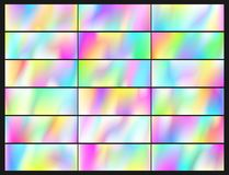 Holographic Vector Background. Iridescent Foil. Glitch Hologram. Pastel neon rainbow. Set of Holographic Vector Background. Iridescent Foil. Glitch Hologram royalty free illustration