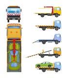 Set holownicze ciężarówki z ślizgową platformą, hydrauliczny manipulant, żuraw ilustracja wektor