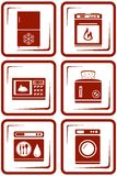 Set Home Appliance Icons Stock Photography