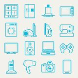 Set of home appliances and electronics icons Stock Image