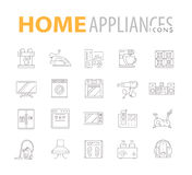 Set of home appliances and electronics icons Stock Images
