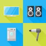 Set of home appliances flat icons. Television, speakers, washing machine and hairdryer. Royalty Free Stock Images