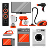 Set of home appliances. Household items for sale and shopping advertising design Royalty Free Stock Photo