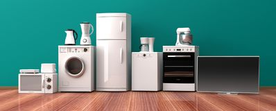 Set of home appliances on a wooden floor. 3d illustration Royalty Free Stock Photography