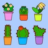 Set of home flowers in pots. House plants. Flat design Vector Illustration. EPS vector illustration