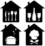 Set home icon with kithen utencil Stock Photos