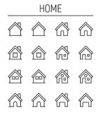 Set of home icons in modern thin line style. Royalty Free Stock Images
