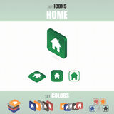 Set of home icons. Several types of icons. Different color options. Vector illustration Stock Illustration