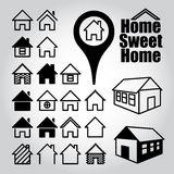 Set of home icons. Home sweet home Royalty Free Stock Photos