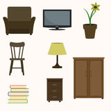 Set of home interior items. Armchair, TV, sofa, lamp, flower, chair books wardrobe bedside table Stock Image
