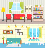 Set Home Interiors. Design of Living Rooms Royalty Free Stock Images